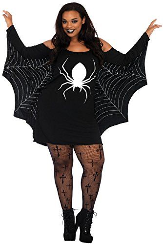 Melory Halloween Ghost Print Bat-wing/Spiderweb Long Sleeve Cold Shoulder Jersey Plus Size Costume Dress