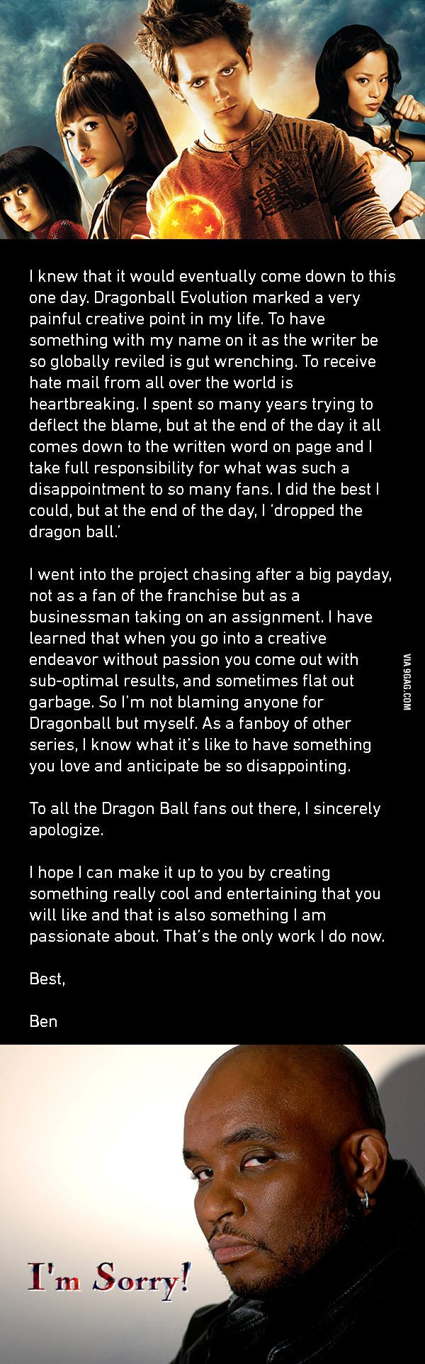 7 years after Dragonball Evolution', Screenwriter Ben Ramsey Writes A Sincere Apology... Is he for real!? Lol