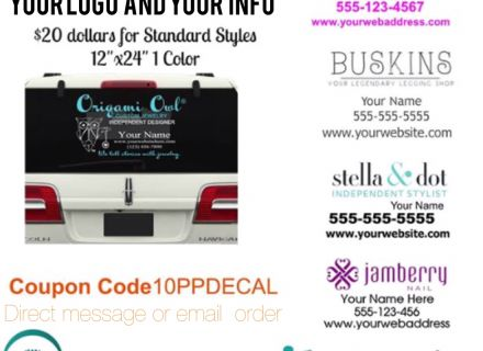 "Logo and name website and phone#Standard size 12x24"" decal is white  Order here Than email logo file to melissa@imagineitvinyl.ca"