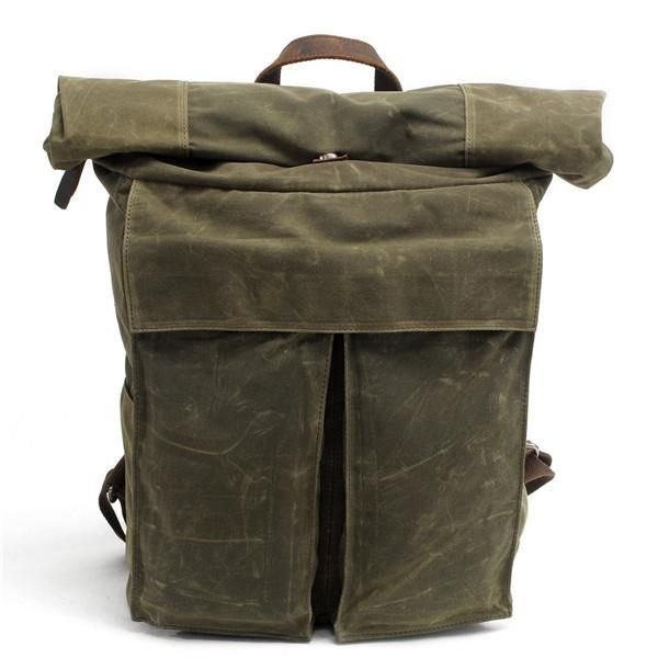 Men Large Capacity Travel Backpack Bag Waterproof Oil Wax Canvas Laptop Backpack Vintage College Style Casual Youth School Bags