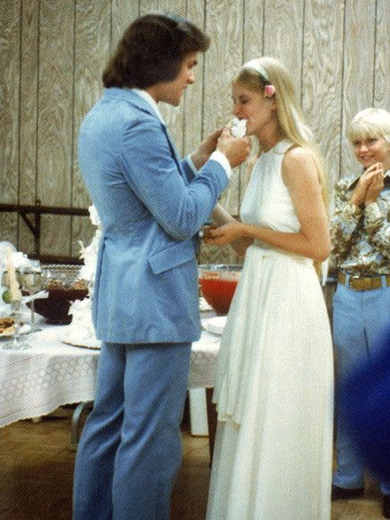 Patrick Swayze and Lisa's wedding day June 12, 1975, Childhood sweethearts.
