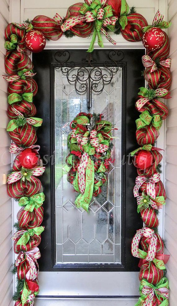 Christmas Wreath With Matching Garland Christmas Decor Door Garland Door Hanger Christmas Swag Whimsical Christmas Wreath Christmas Swags Christmas Wreaths Christmas Garland