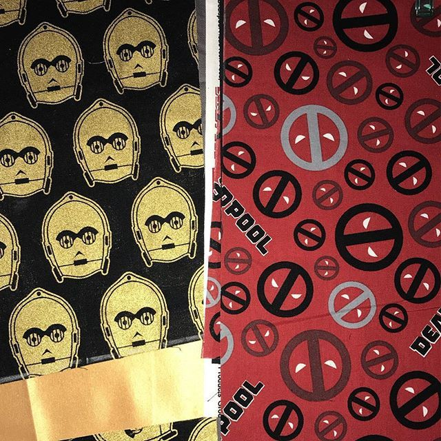Working on new #messengerbags for this weekends market.  Check out these awesome #starwars and #deadpool prints.