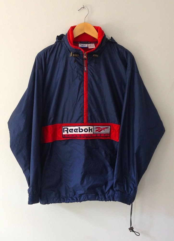 Image of Vintage Reebok Nylon Half-Zip Hooded Embroidered ...