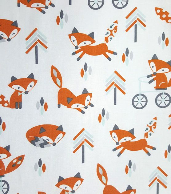 Magic Moon™ Little Fox Cotton Fabric-Trees