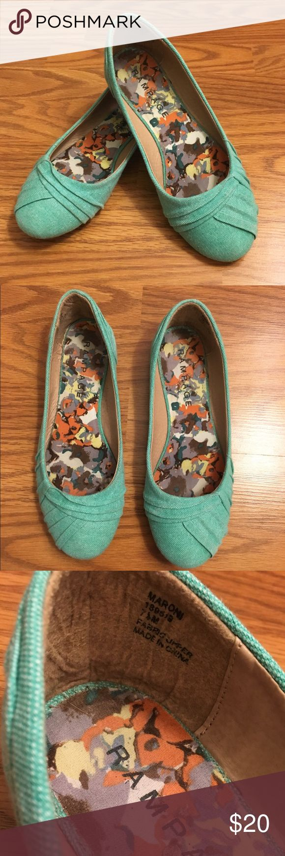 Rampage Maroni Flats, Teal, Size 7.5 Rampage Maroni Teal Flats! They are a women's size 7.5 and have hardly been worn. Feel free to ask questions. Reasonable offers welcome.  Rampage Shoes Flats & Loafers