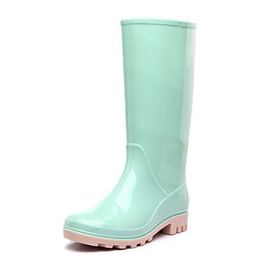 Rubber Womens Flat Heel Rain Boot MidCalf BootsMore Colors