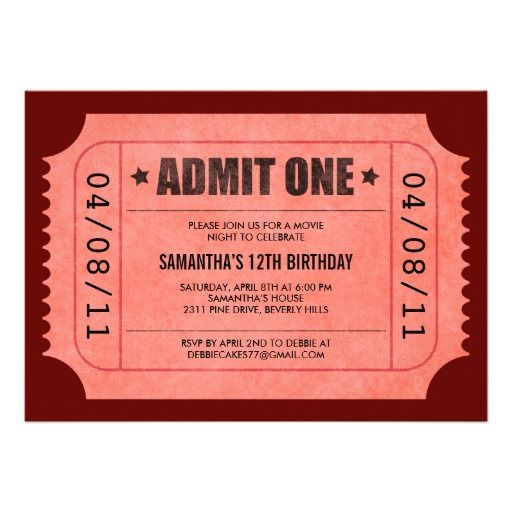 Red Admit One Ticket Invitations