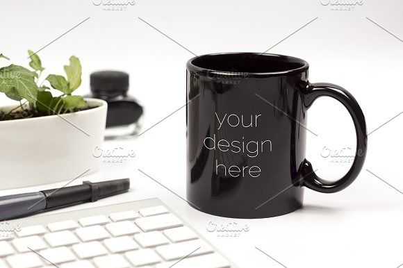 Black Mug Mockup #2 by Kreanille Design on @creativemarket