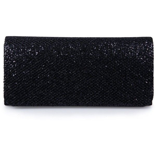 Ecosusi Women Flap Dazzling Evening Bag Hard Case Clutch Handbag Purse... ($20) ❤ liked on Polyvore featuring bags, handbags, clutches, black clutches, hand bags, evening handbags, purse clutches and black chain handbag