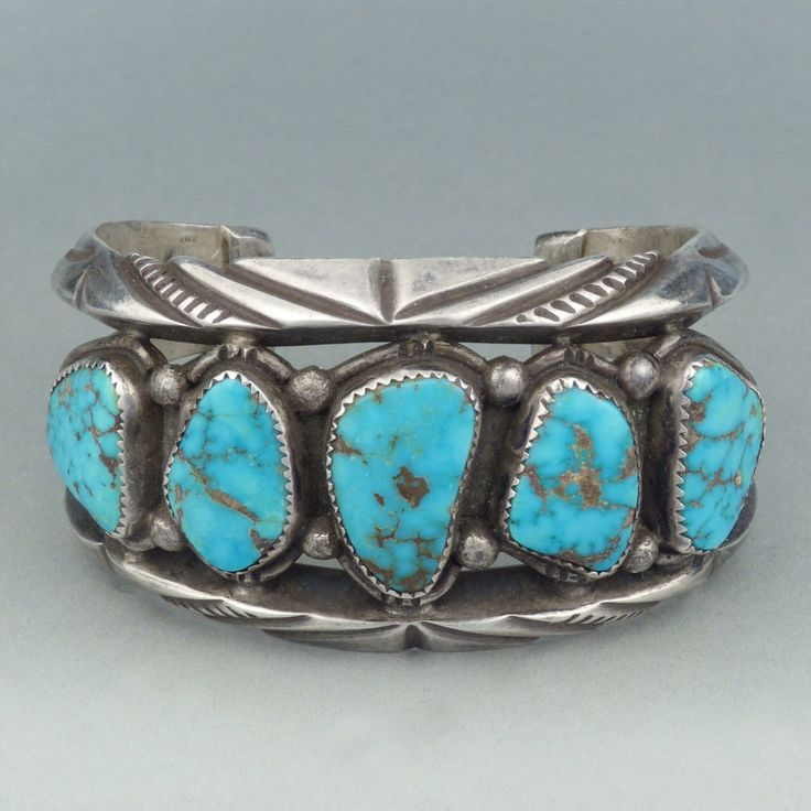 Mark Chee, Navajo Heavy Chiseled Cuff with Turquoise, c ...