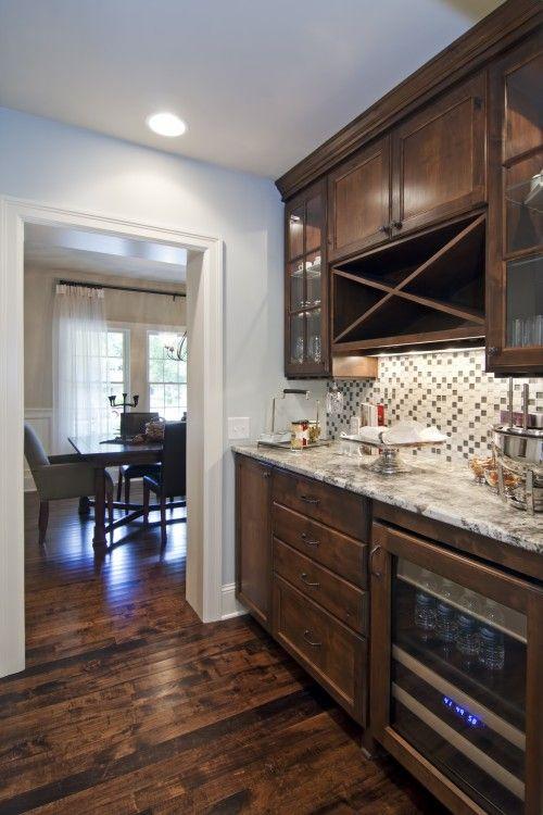 Dark Cabinets In Butleru0027s Pantry With Gorgeous, Dark, Rustic Floors   By  Schrader U0026
