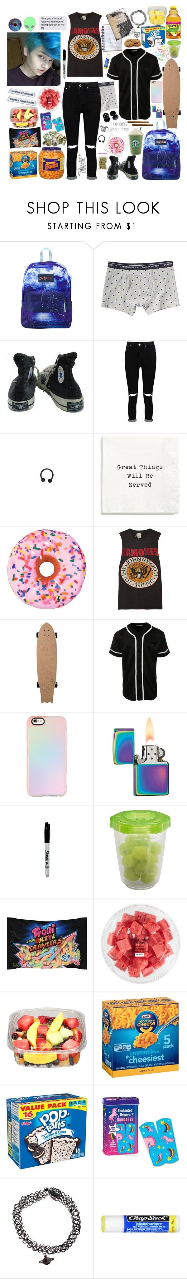 """Can we go to Walmart after coffee? {Ash"" by writingandfasionarelyfe ❤ liked on Polyvore featuring JanSport, Banana Republic, Converse, Boohoo, Iscream, MadeWorn, LE3NO, Casetify, Zippo and American Apparel"