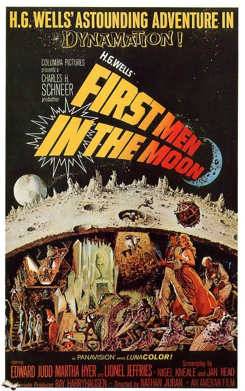 First Men in the Moon (1964), British horror film poster, Hammer. Directed by Nathan Juran, starring Edward Judd, Martha Hyer and Lionel Jeffries. Adaptation by Nigel Kneale of H. G. Wells' 1901 novel. Ray Harryhausen provided stop-motion effects,