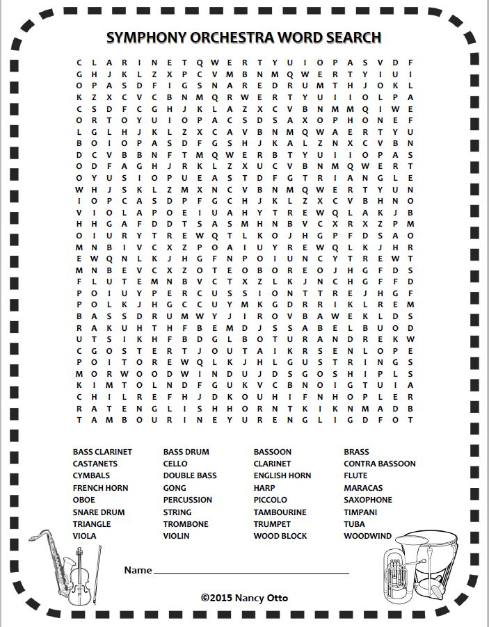 INSTRUMENTS of the ORCHESTRA word-search!  One of 24 FREE music worksheets for busy music teachers in in a downloadable eBook!