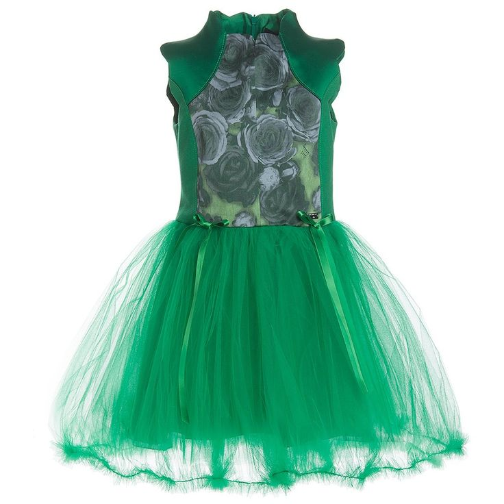 Richmond Jr Green Tulle Dress With Roses   Childrensalon