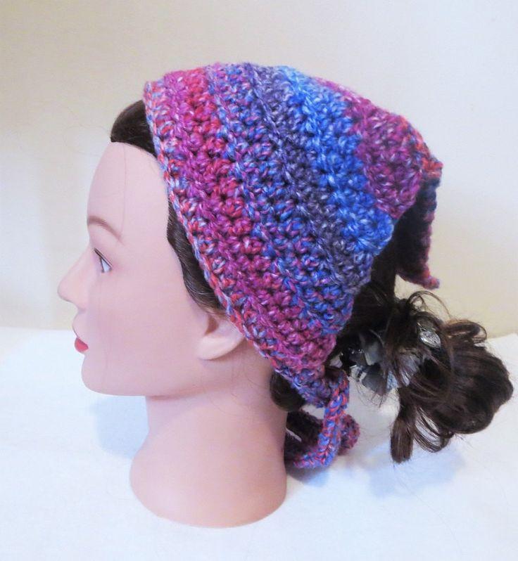 Mixed Berries Kerchief, Crochet Bandana, Tie On Kerchief, Head Covering, Veil by TiStephani on Etsy