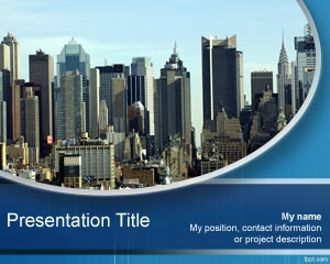 City PowerPoint template is a free PPT template with a skyscraper city picture in the background and you can download this free city PPT template for presentations on city or business presentations