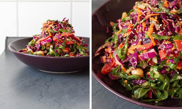 A Thai-inspired salad with a spicy, tangy dressing using ingredients already in your pantry. Easy peasy and great to toss with crunchy cabbage and chard.