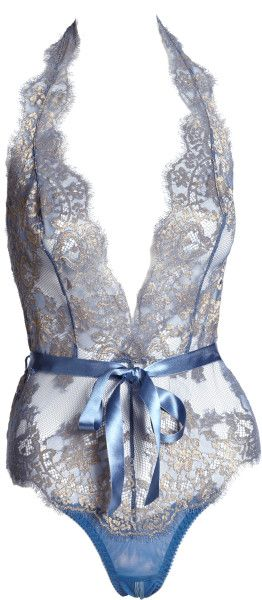 L'agent By Agent Provocateur Iana Lace Playsuit in Blue (BLUE-GREY)