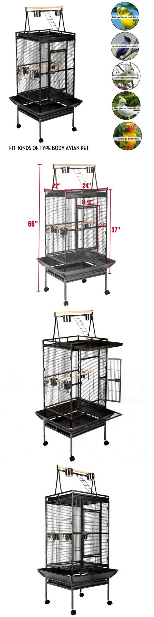 Cages 46289: 68 Large Bird Cage Play Top Parrot Finch Cage Pet Supplies Perch Macaw House -> BUY IT NOW ONLY: $107.9 on eBay!