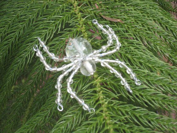 Clear Ice Sickle Christmas Spider Ornament Sun catcher by AlaArt