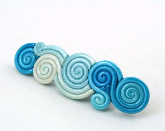 Teal Blue Hair Clip in Polymer Clay Filigree