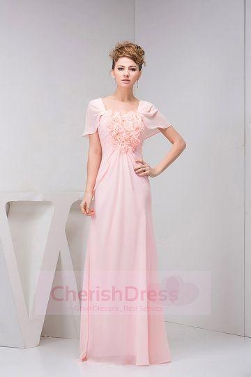 Square Neckline Cap Sleeves Handmade Flowers Ruffle Sheath Floor-length Dress