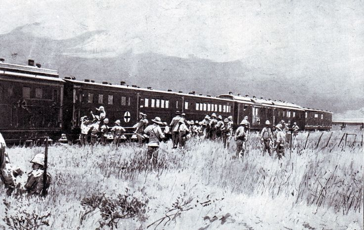 British field hospital train collecting wounded soldiers after the Battle of Colenso on 15th December 1899 during the Boer War