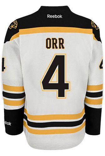 Boston Bruins VINTAGE Bobby ORR #4 *A* Official Away Reebok Premier Replica NHL Hockey Jersey (HAND SEWN CUSTOMIZATION)