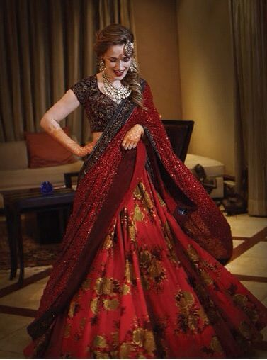 Sabyasachi Resort 2015 silk flower print lehenga sequin dupatta Indian Scottish Wedding