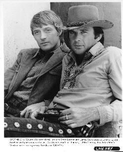 """Wayne Maunder (Scott Lancer) and James Stacy (Johnny Madrid Lancer) on """"Lancer""""."""