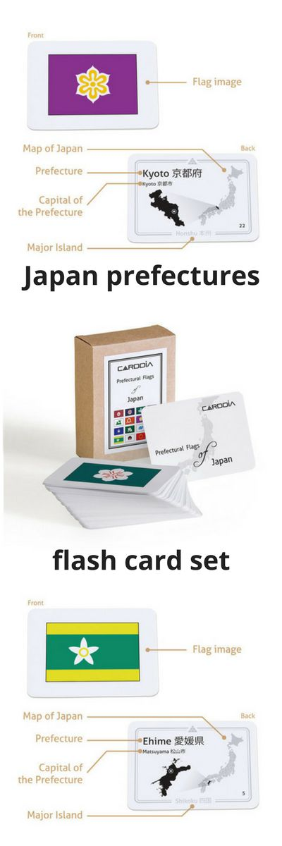 Prefectural Flags of Japan flashcards. The Prefectural Flags of Japan flash card deck is a great learning tool for Japanese Geography beginners. These pocket size cards have the name of the prefecture, its capital, the major island it belongs to. Each card contains a mini map of Japan showing the location of the prefecture. Lovely gift for any student of Japan, Japanese language or culture. #japan #prefectures #flags #learning #japanese #flashcards #geography #ad