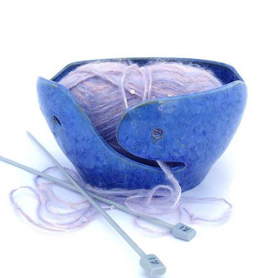 Crystal Glazed  Ceramic Yarn  Bowl Crochet Bowl Knitting