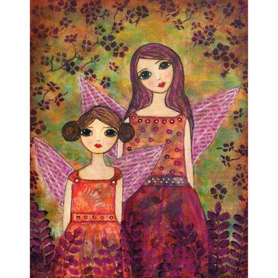 Whimsical Fairy Painting Sister Painting Art Print by Sascalia