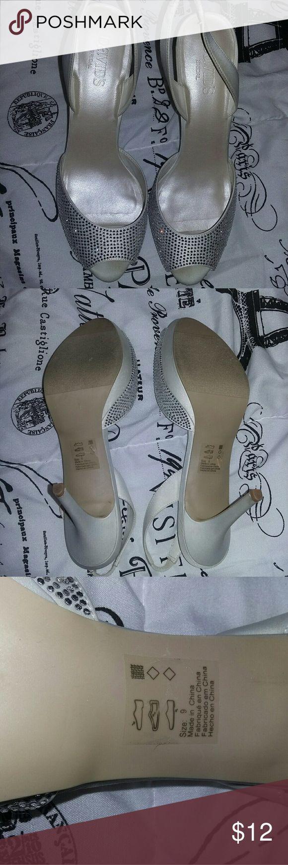 David's bridal wedding high heels David's bridal wedding high heel shoes. Size 9 . only wore for a couple of hours. David's Bridal Shoes Heels