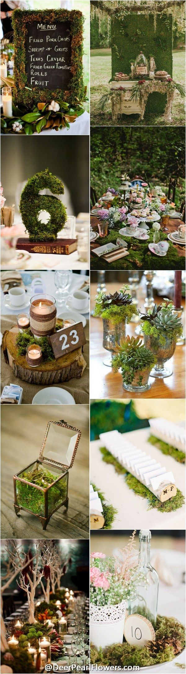 woodland moss wedding ideas - rustic country wedding ideas  / http://www.deerpearlflowers.com/moss-decor-ideas-for-a-nature-wedding/