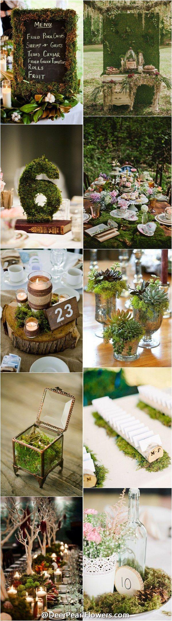 woodland moss wedding ideas - rustic country wedding ideas  / http://www.deerpearlflowers.com/moss-decor-ideas-for-a-nature-wedding/