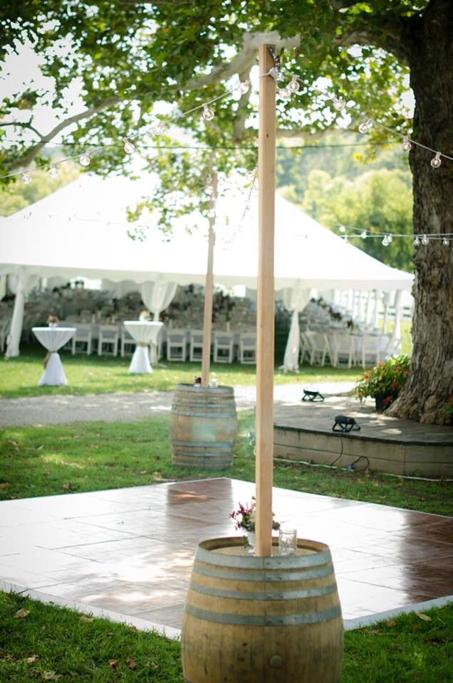 Outdoor Wedding Lighting Rental 23 best outdoor wedding lighting images on pinterest cafe lighting outdoor cafe lighting draped over a dance floor rental cincinnati ohio lighting support poles are made out of whiskey barrels rent them for your next workwithnaturefo