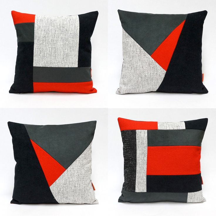 Color block Pillow Cover - throw pillow handmade from upholstery fabrics