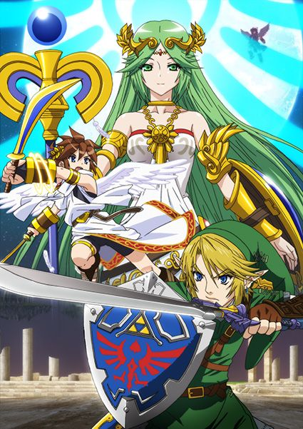 Palutena poster. featuring Pit and the fighter from Hyrule, who is quite impressive indeed... for a mere mortal...