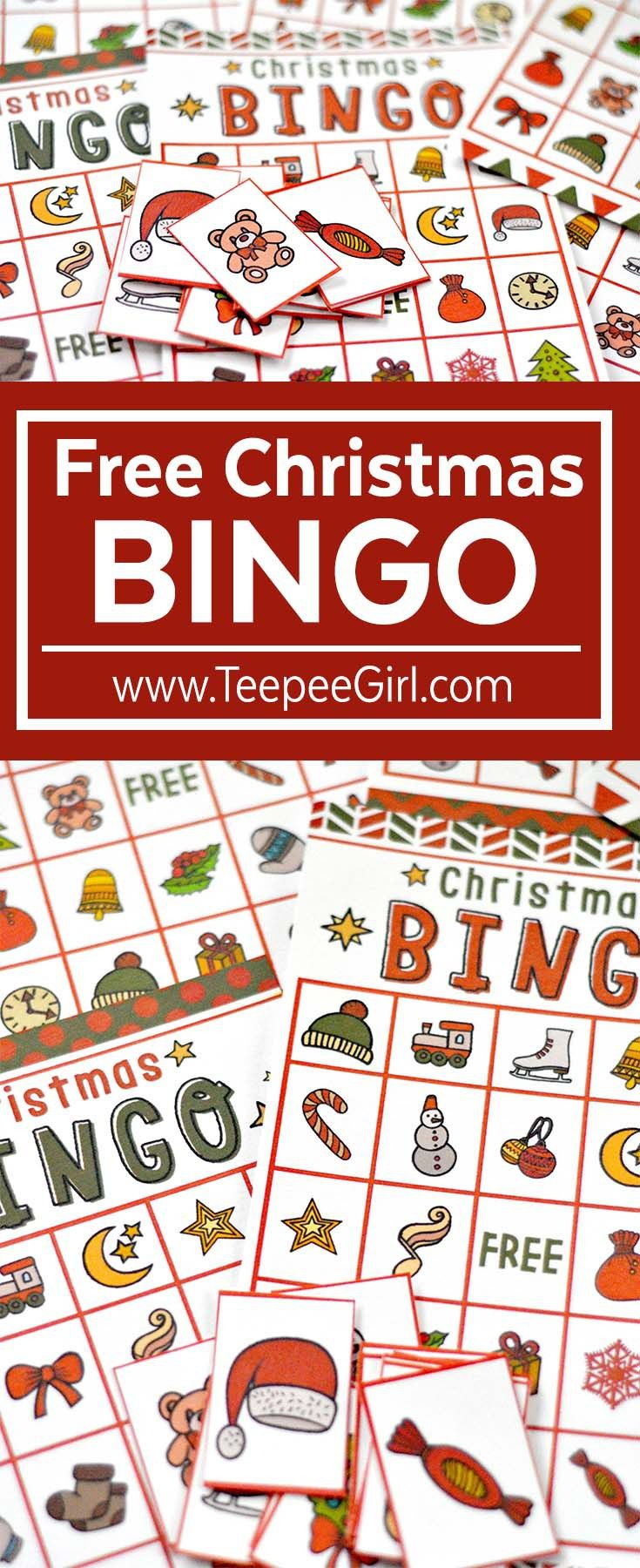 This free bingo game is the perfect (and easy!) way to add holiday fun to all your Christmas parties this year! Click here to get your free bingo game (and other great holiday ideas) from www.TeepeeGirl.com!