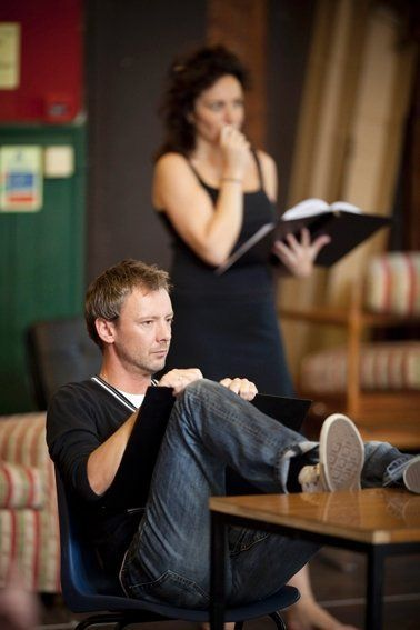 John Simm and Lucy Cohu in rehearsal for 'Speaking in Tongues' (2009)