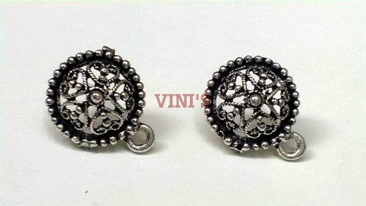 SH39 Antique Silver stud base with loop Stud size 15mm, With Rubber stopper Rs- 24/pair
