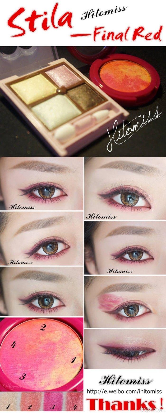 red color eye make up 红色眼妆