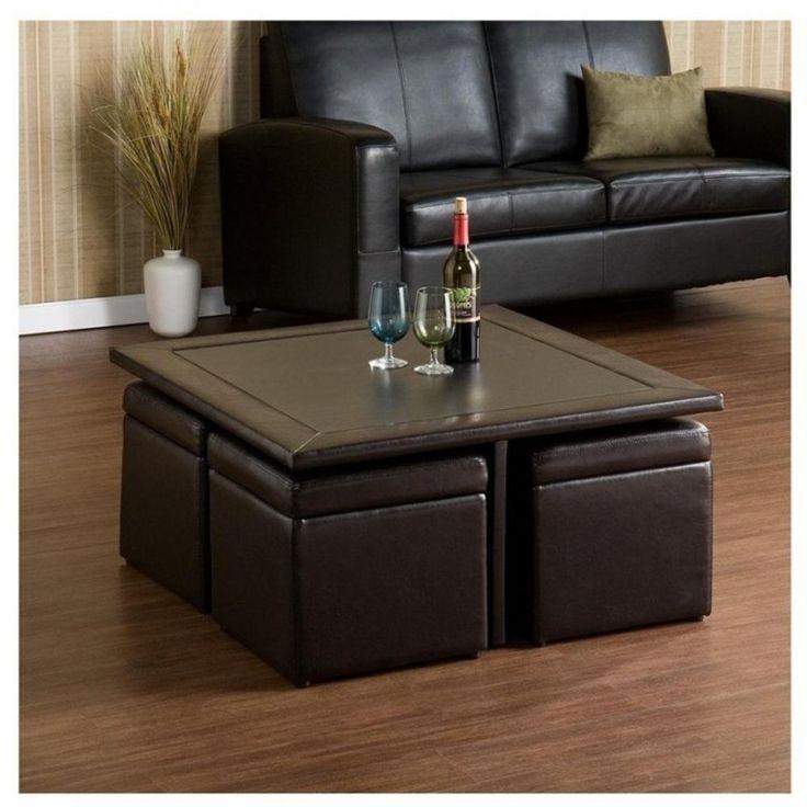 Attractive ottoman coffee table storage unit combination