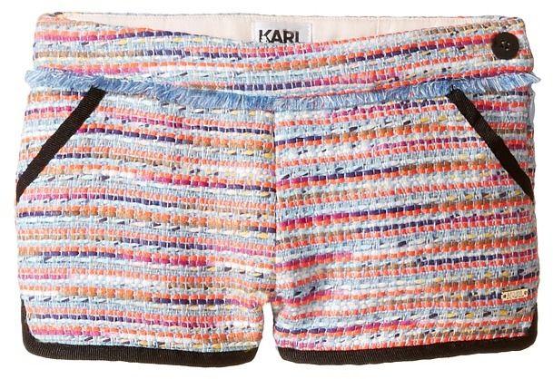 Karl Lagerfeld Tweed Shorts w/ Fringe & Contrast Black Trim (Toddler)