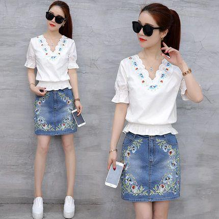 2017 лето новые женщины корейской моды джинсовой двухсекционный пакет бедра юбка костюм небольшой ароматный ветер юбка летом приток