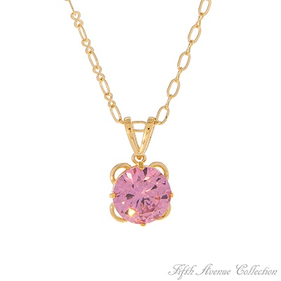 Cherry Blossom £33  A brilliant full-cut Cherry Blossom pink cubic zirconia shimmers with sparkling beauty as it falls gently from a lovely open-loop chain.   17 neckpiece with 2 extension Lead, nickel and cadmium free