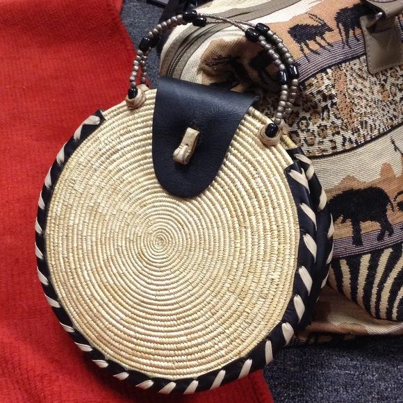 Vintage Handmade Leather Woven Circle Wicker Purse Circle swirl weave style. African Safari vacation. Travel. Resort. Hand beaded handles. Strong. Leather wrap. Black and beige leathers. Fancy. Artsy. Artistic. Indie designer. Metallic beads. Clutch for dinner date. Round. Sun. Sunshine. Bohemian. Free spirit. Hippie chic. Boho. Wild and free heart. Classy. Unique. Kitsch. Vintage Bags Clutches & Wristlets